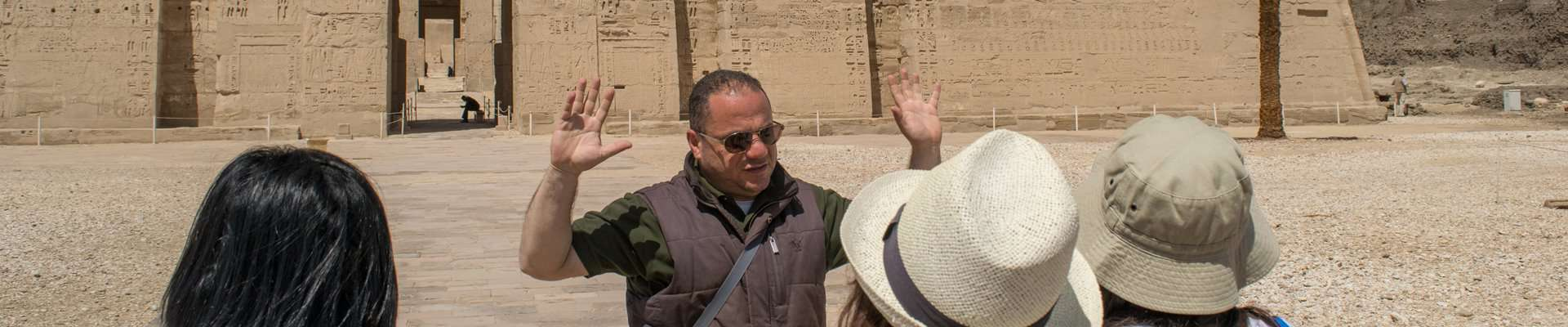Guided tour of ancient Egyptian temple.