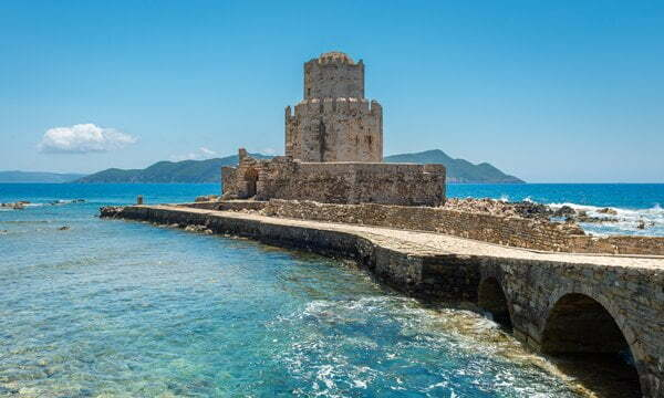 The Venetian Bourtzi Tower at Methoni Castle in the Peloponnese, Greece.