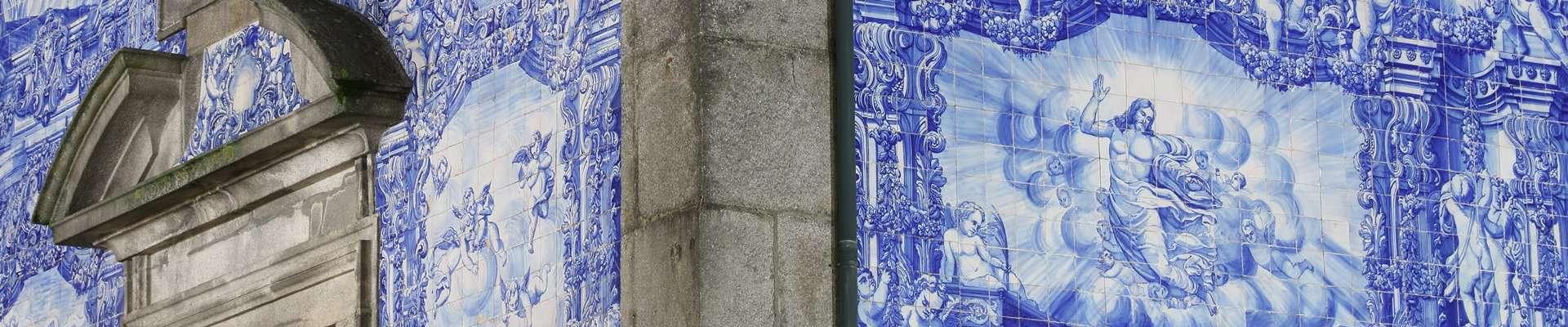 Blue tiles on the exterior walls of Capela das Almas in Porto, Portugal.