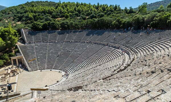 The well known ancient theatre of Epidaurus, Greece.