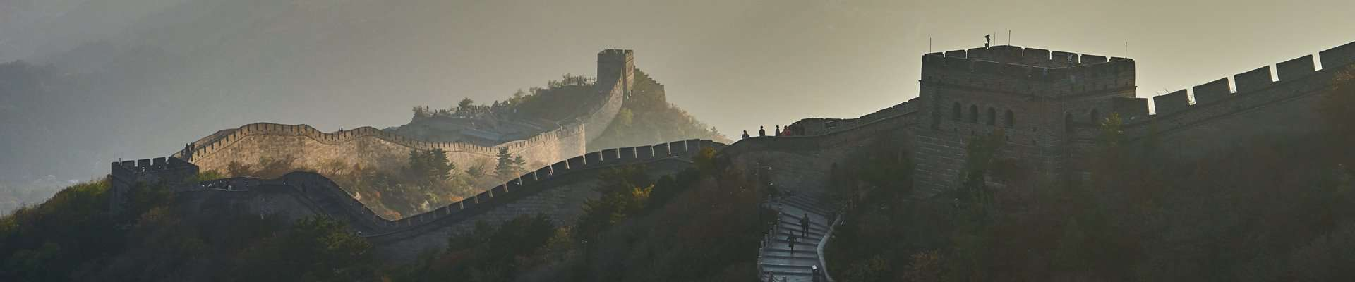 The Great Wall of China as it snakes across the mountains.