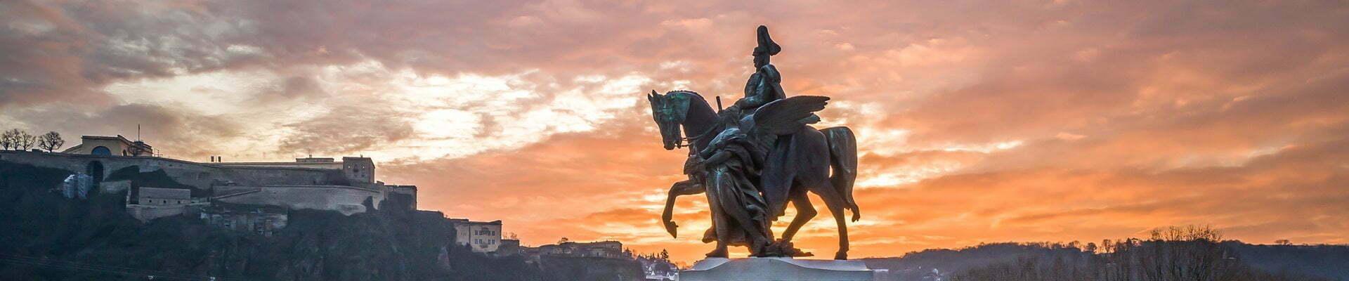 The Kaiser Wilhelm memorial at 'German Corner' in Koblenz.