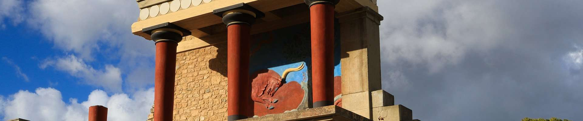 Reconstructions of the archaeological site of Knossos in Crete.