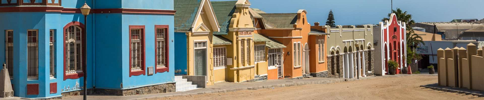 Colour full historic houses in the town of Luderitz, Namibia.