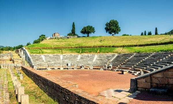 The relatively well preserved ancient theatre at Messene, Peleponnese.