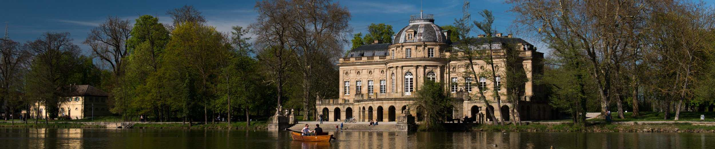 Rowing on the lake at Monrepos Castle in Baden-Württemberg.