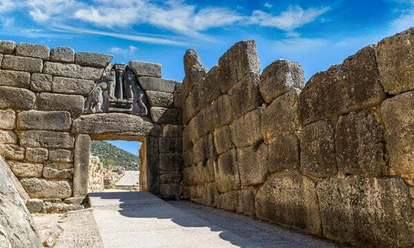 The Lion Gate at Mycenea Archaeological Site.