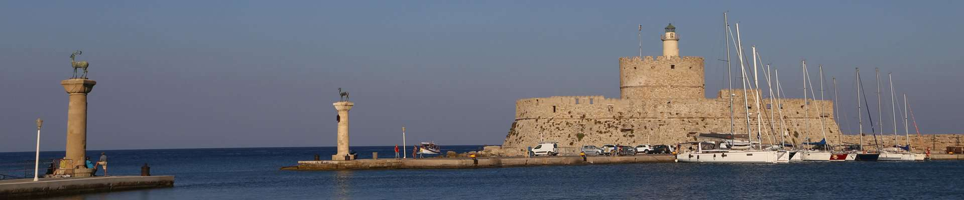St Nicholas Fort at the entrance to the harbour in Rhodes, South Aegean.