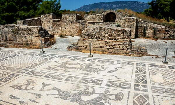 Mosaic floors in the Roman Baths at Isthmia, Peloponnese.