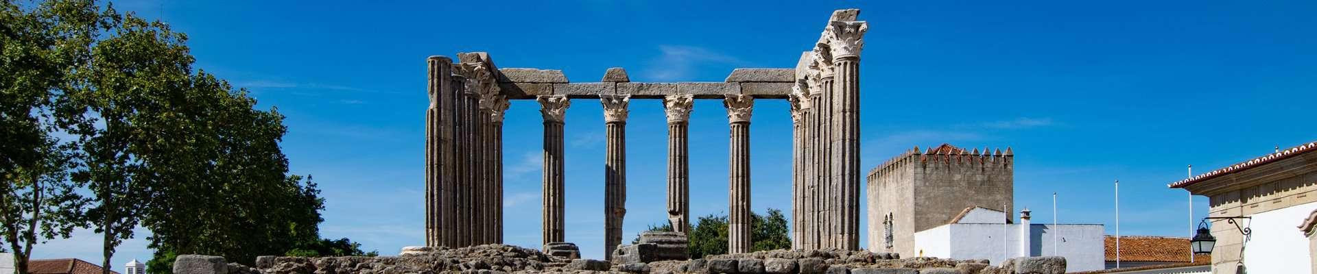 The Roman temple in the centre of the historic town of Evora in Alentejo, Portugal.
