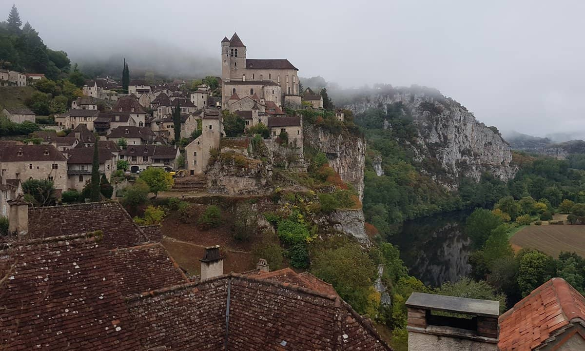 The medieval village of Saint-Cirq-Lapopie overlooking the Célé River.