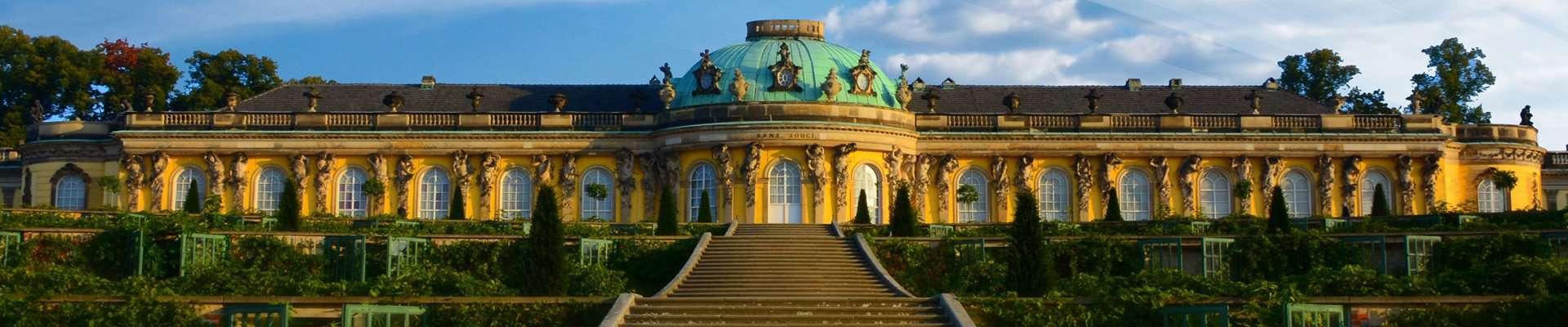 Sanssouci Schloss in Potsdam at dawn.