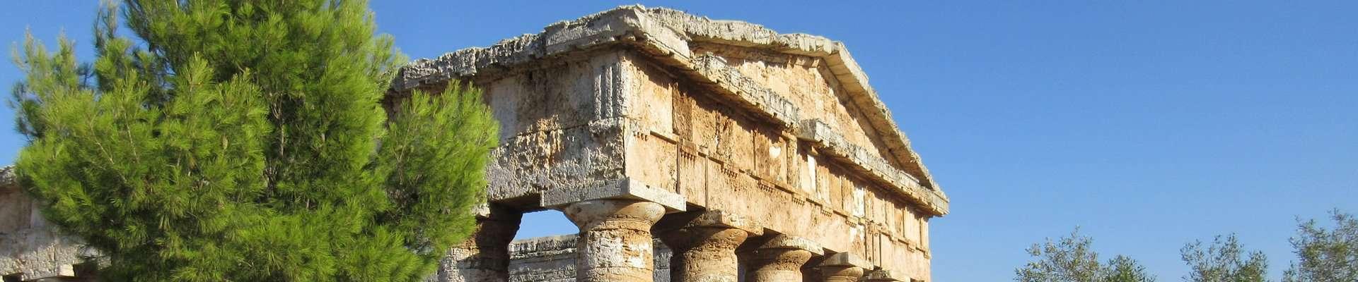 The pediment of the Doric Segesta temple in Sicily.