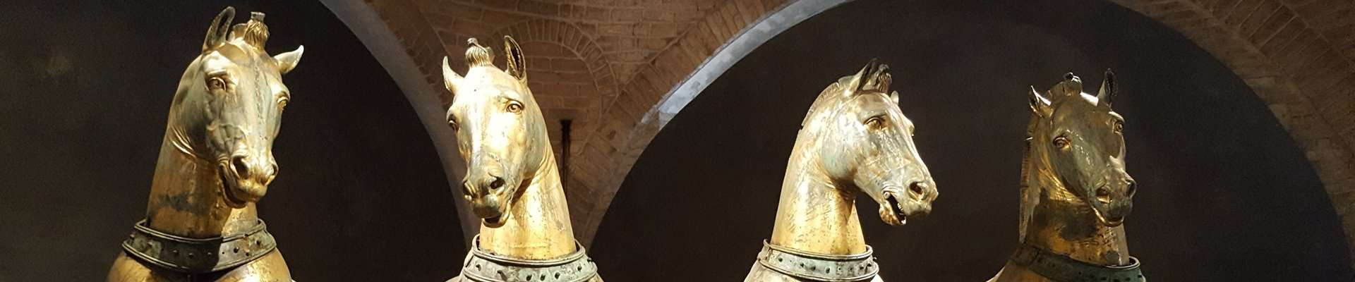 Close up of the four horses' heads in St Marks, Venice.