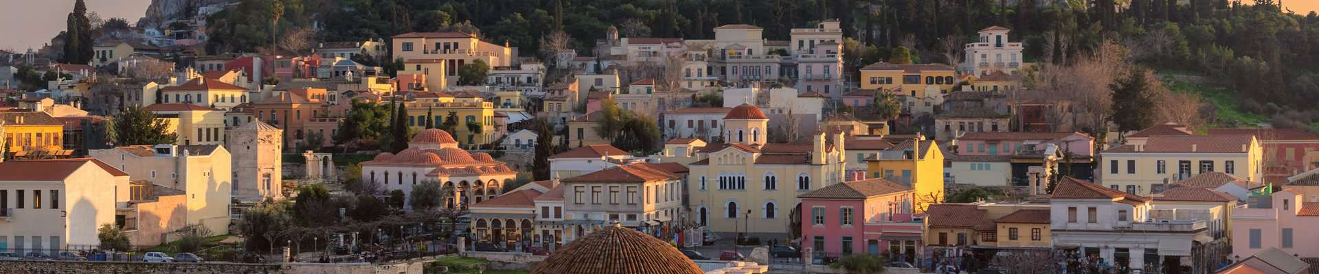 The historic district of Plaka on the slopes of the Acropolis in Athens.