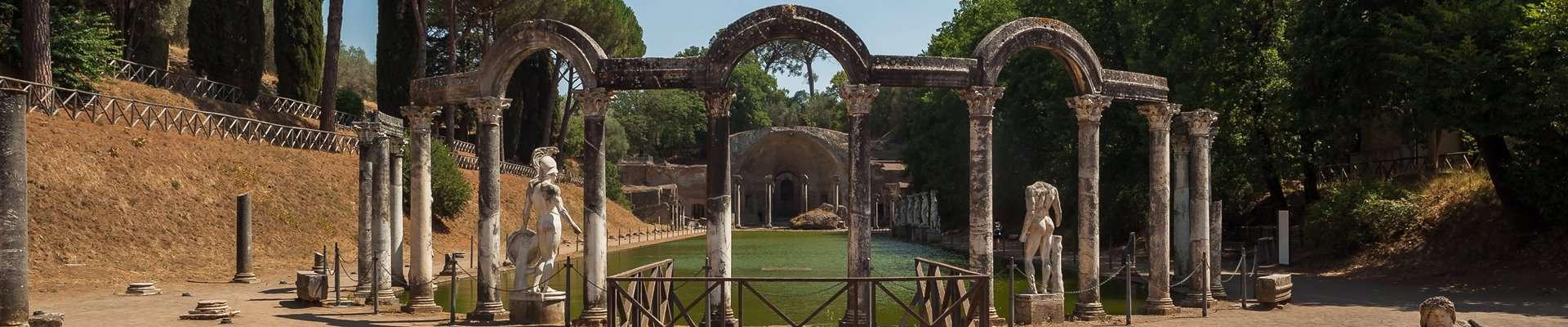 Canal at Hadrian's Villa that imitates the sanctuary of Serapis in Alexandria.
