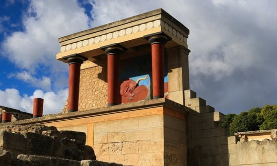 A partial reconstruction of the Palace of Knossos on Crete.