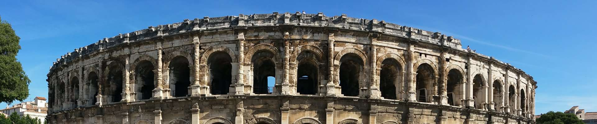 The top of the Roman arena in Nimes, France.