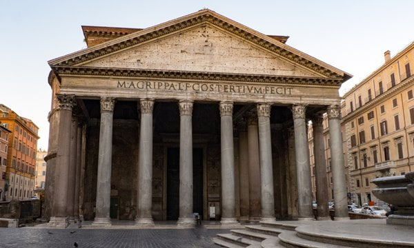 The entrance to the Pantheon in Rome early in the morning before the tourists.