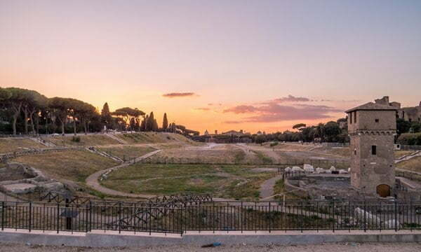 The Circus Maximus in Rome at sunset.