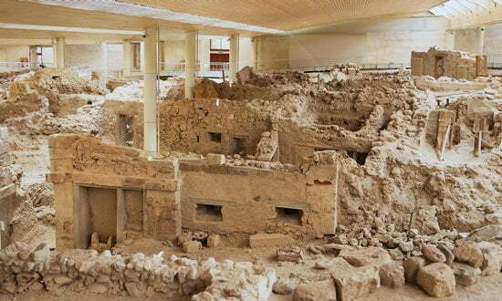 The covered archaeological site of Akrotiri in Santorini.