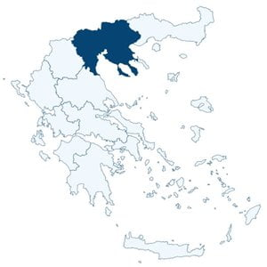 Map of Greece highlighting the position of the administrative region of Central Macedonia.