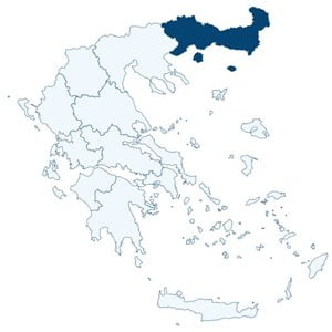 Map of Greece highlighting the position of the administrative region of East Macedonia and Thrace.