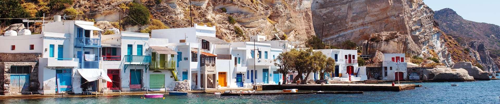 Colourful houses in the seaside village of Klima on Milos Island, Greece.