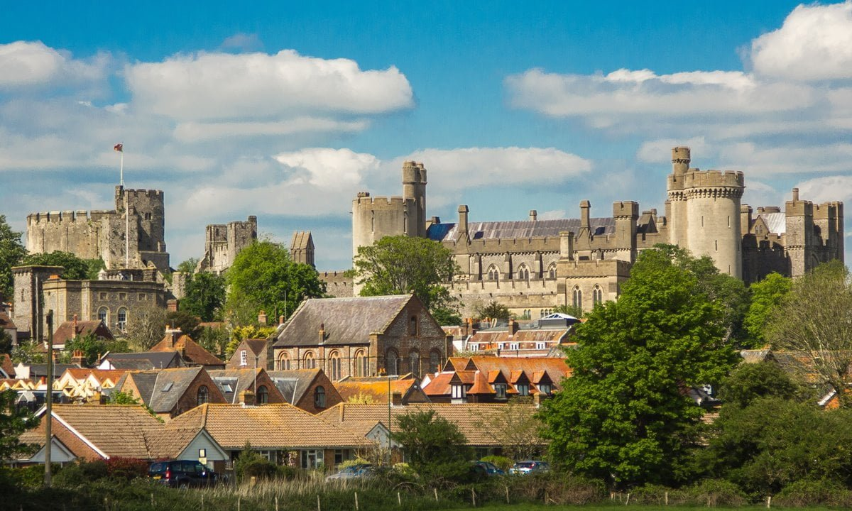 Arundel Castle towering above the town of Arundel.