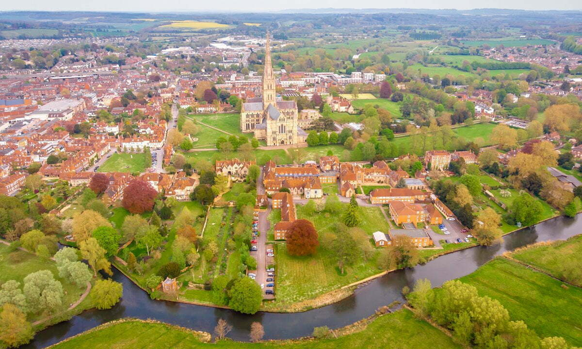 An aerial view of Salisbury's Cathedral Close.