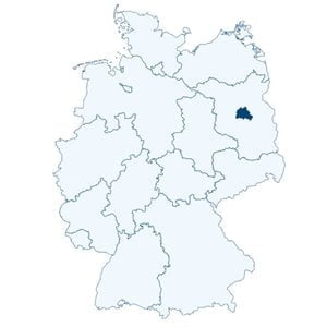 Map of Germany showing the position of Berlin.