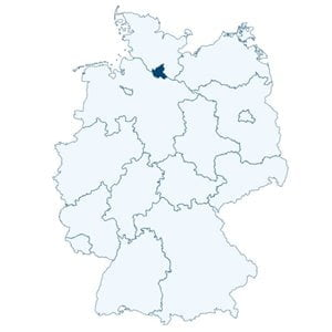 Map of Germany showing with the position of Hamburg marked.