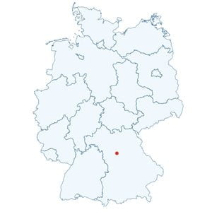 Map of Germany showing the position of Nuremberg.