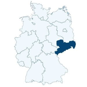Map of Germany showing the position of the state of Saxony.
