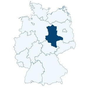 Map of Germany showing the position of the state of Saxony-Anhalt.