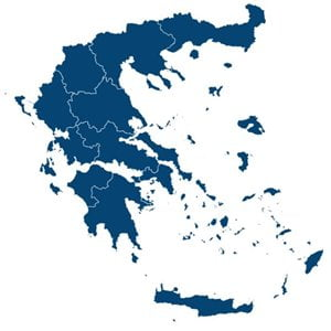 Map of Greece showing the boundaries of the administrative regions.