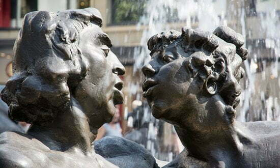 A close up on one couple in the Marriage Carousel Fountain, Nuremberg.