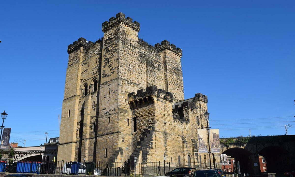 The stone keep of Newcastle Castle, England.
