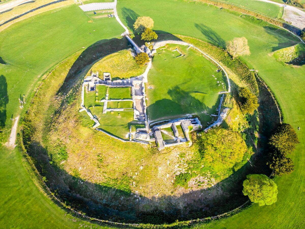 Aerial view of the motte and bailey castle at Old Sarum.