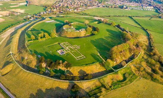 An aerial view of Old Sarum on the outskirts of Salisbury, England.