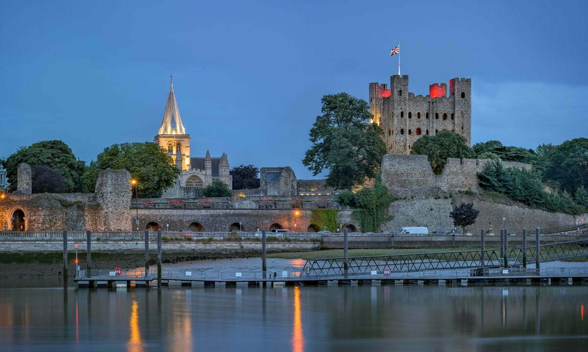 Rochester Castle and Cathedral on the banks of the Medway River in Kent.