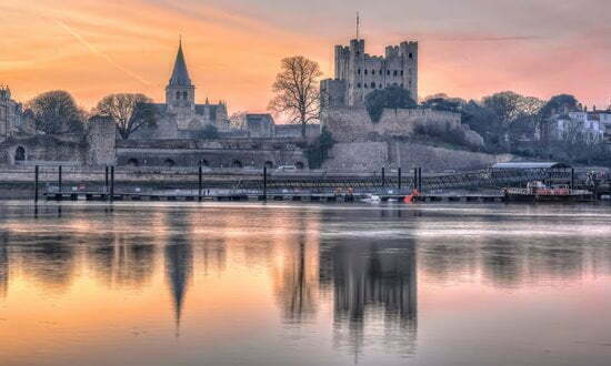 Rochester Castle on the Medway River, south east England.