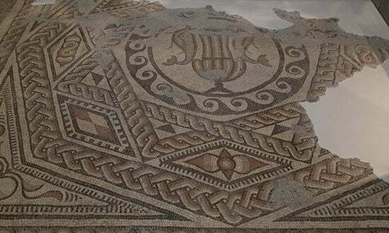 Portion of the Downton Roman Mosaic in the Salisbury Museum, Wiltshire.