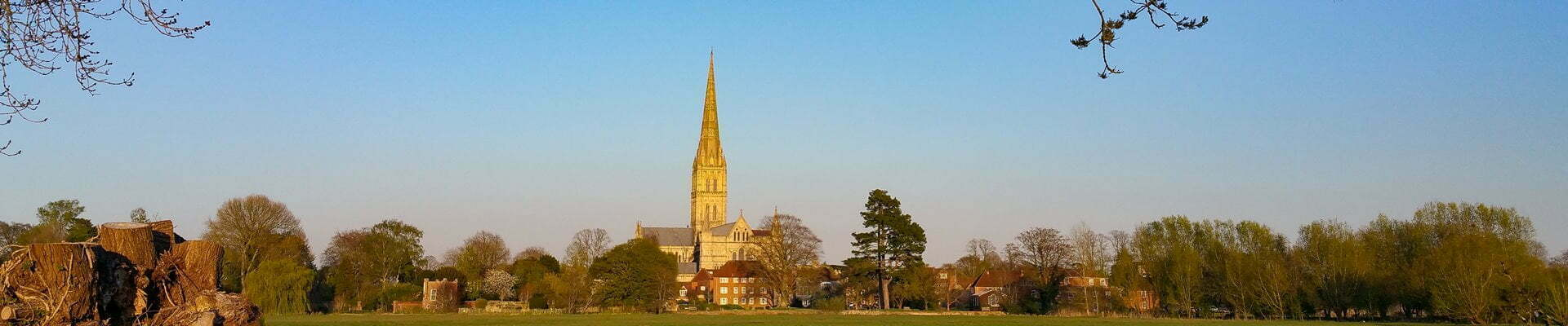 View of Salisbury Cathedral from the meadows in early spring.