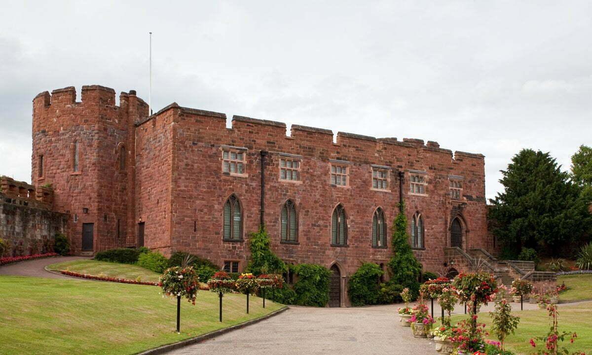 The striking Shrewsbury Castle in red sandstone.