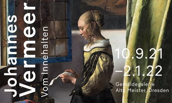Poster for the Vermeer exhibition in Dresden 2021.
