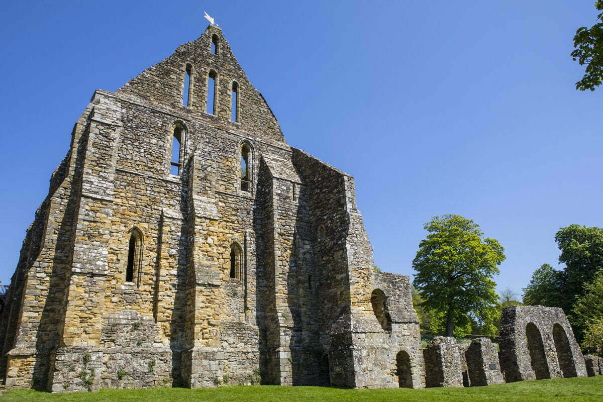 Ruins of Battle Abbey in Hastings, East Sussex in England.
