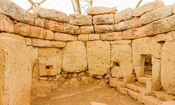 A circular chamber in the Ħaġar Qim megalithic temple, Malta.