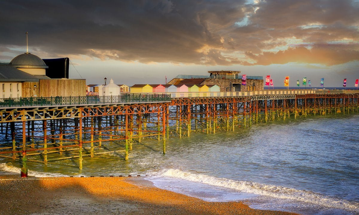 The pier at Hastings during sunset.