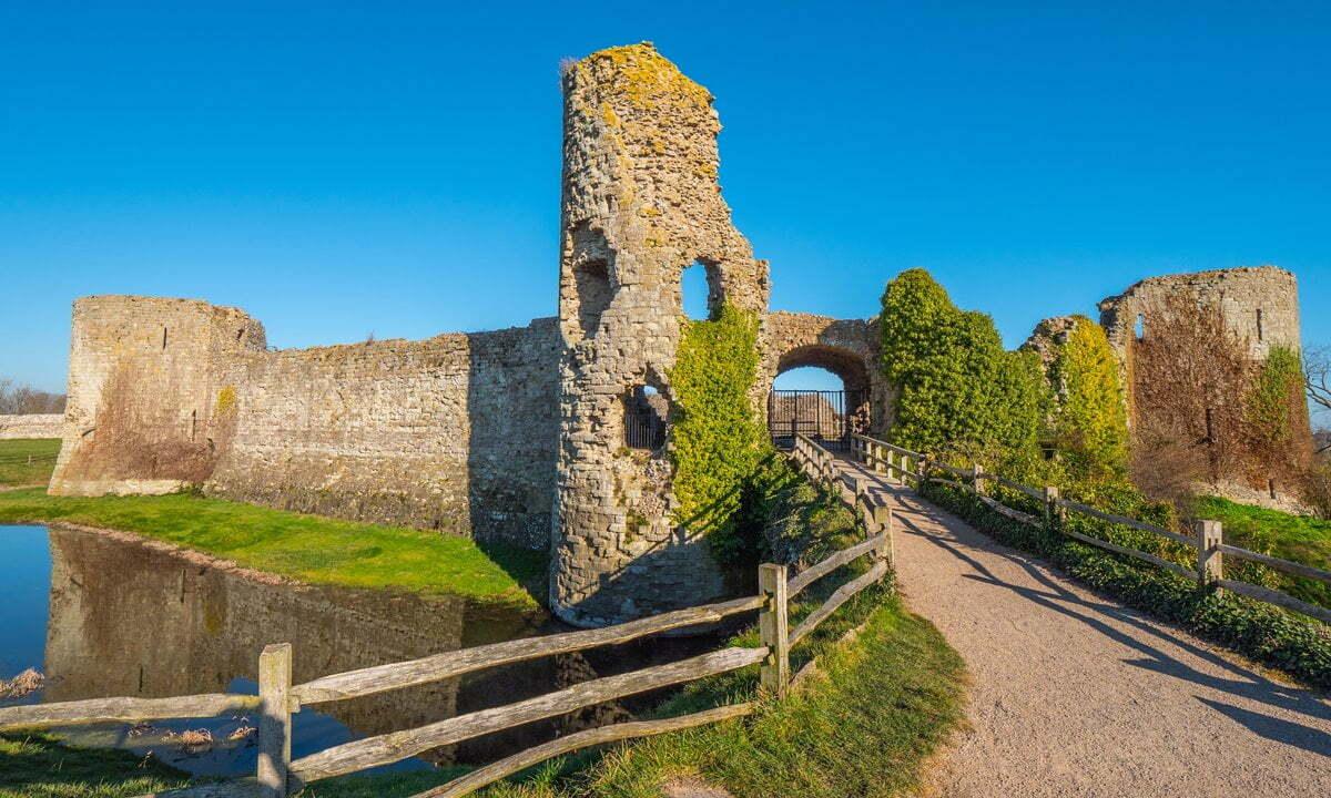The Roman Saxon Shore fort of Pevensey Castle, East Sussex.